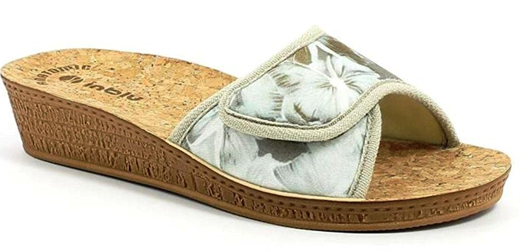 INBLU Ciabatte Pantofole Aperte Donna MOD. DI-61 Velcro Ghiaccio Linea Benessere