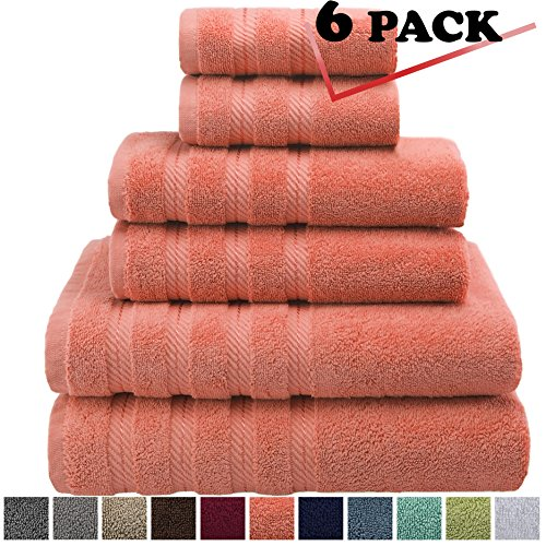 Premium, Luxury Hotel & Spa, 6 Piece Towel Set, Turkish Towels 100% Cotton for Maximum Softness and Absorbency by American Soft Linen, [Worth $72.95] (Malibu Peach) - Double Door Utility Cabinet