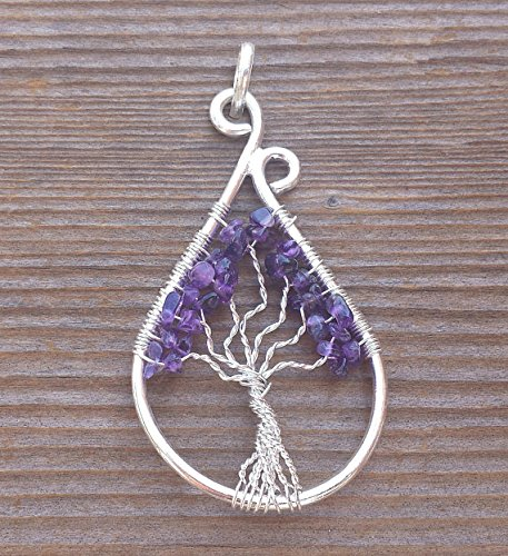 Amethyst Peacock ([A&S Crystals] Drop/Peacock Style AMETHYST Tree Of Life Wire Wrapped Pendant Stone Natural Gemstone)