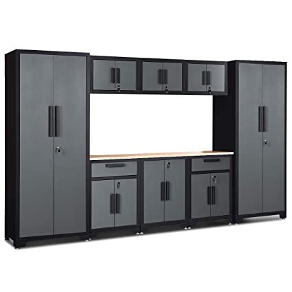 Genial Goplus 9 Piece Garage Storage Cabinet Sets 24 Gauge With Rubber Wood  Worktop, Lockers