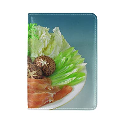 Food Plate Mushrooms Carrots Cabbage Parsley Meat Leather Passport Holder Cover Case Travel One Pocket
