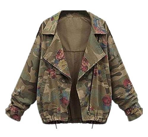 AILIENT Abrigo Mujeres Chaquetas Camuflaje Manga Larga Jacket Hipster Coat Suelto Outwear Elegantes