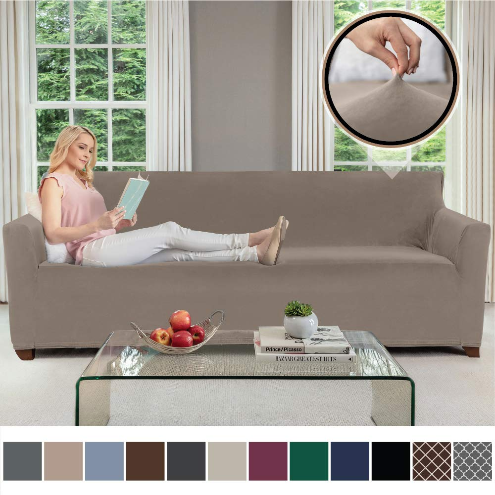 Chocolate Spandex Couch Slip Cover for Dog Sofa Seat Width up to 78 Inch Stretch Furniture Slipcover Gorilla Grip Original Fitted Velvet 1 Piece X-Large Oversized Sofa Protector Fastener Straps