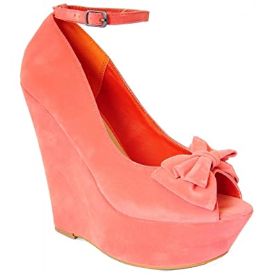 3bf16ff598 Ladies Womens Coral Pink Bow Faux Suede Ankle Strap High Heels Platfroms Wedges  3-8
