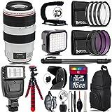 Canon EF 70-300mm IS USM Lens + Flash + LED Kit + Stabilizing Handle + UV-CPL-FLD Filters + Macro Filter Kit + 72 Monopod + Lens Hood + 16GB Class 10 + Backpack + Tripod - International Version