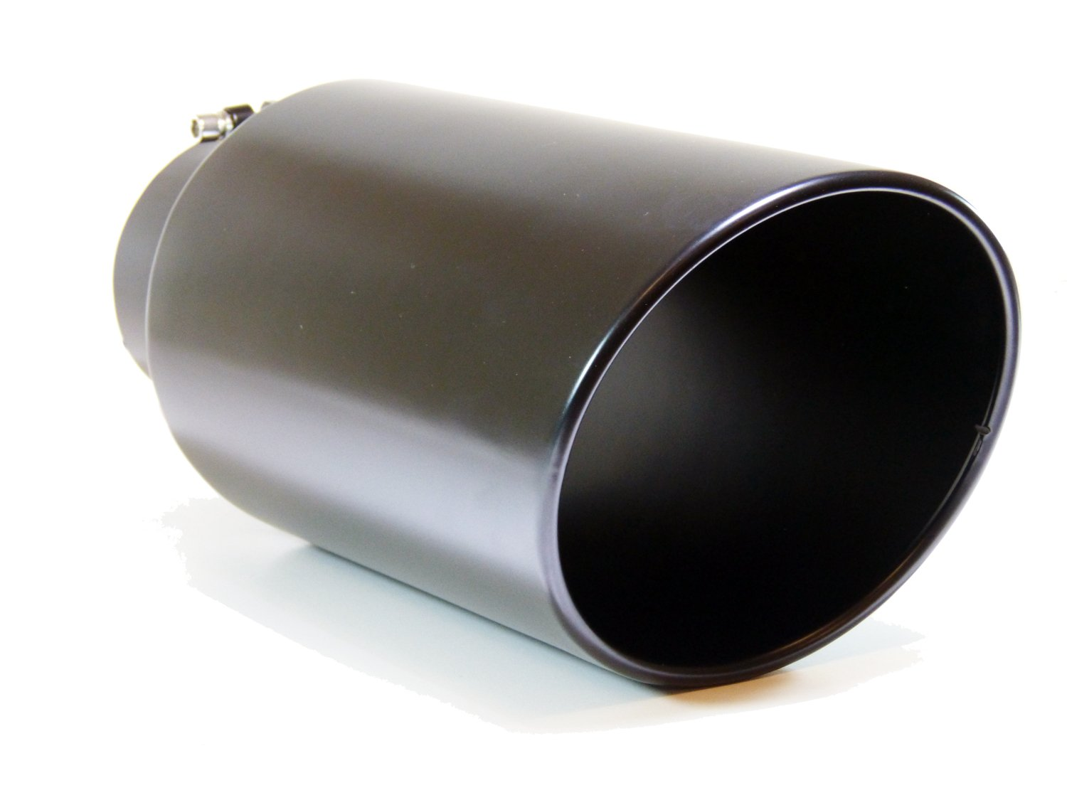 GENSSI Muffler Tip Exhaust Tail Pipe Black (ID: 5 OD: 8 Inch Length: 18 Inch Angled Roll Bolt)