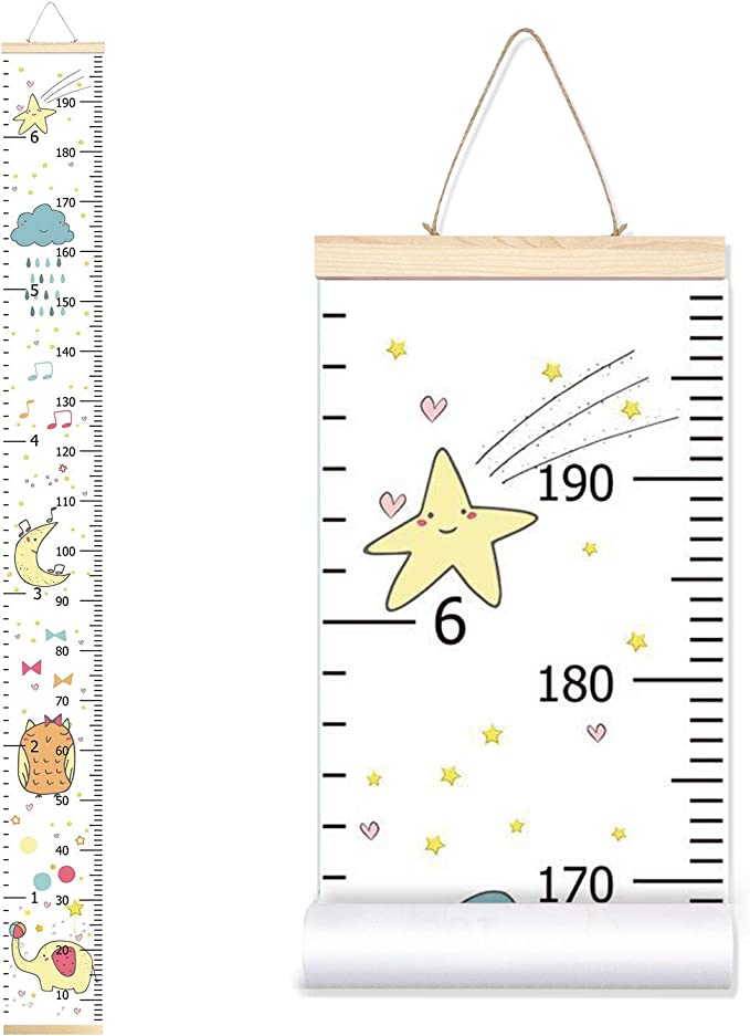 Sylfairy Growth Chart Kids Wall Ruler Removable Height Measure Chart for Boys Girls Growth Ruler Unicorn Wall Room Decoration 797.9 Dinosaur