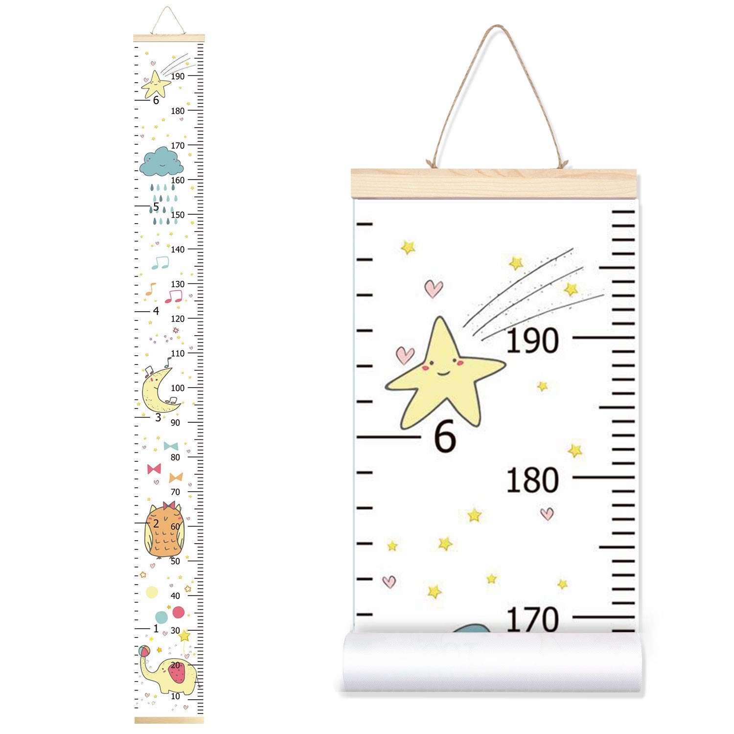 Rainbow+Flower Sylfairy Growth Chart Rainbow Flower Canvas Height Chart Kids Roll-up Wall Ruler Removable Wall Hanging Measurement Chart 7.9 x 79 Wall Decoration with Wood Frame