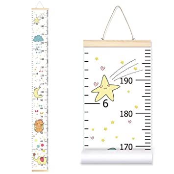7.9 x 79 Baby Shower Gift Baby Growth Chart Ruler for Kids Wood Frame Height Measure Chart Canvas Pink Flower Hanging Height Growth Chart Removable Wall Decor for Baby Kids Nursery Decoration