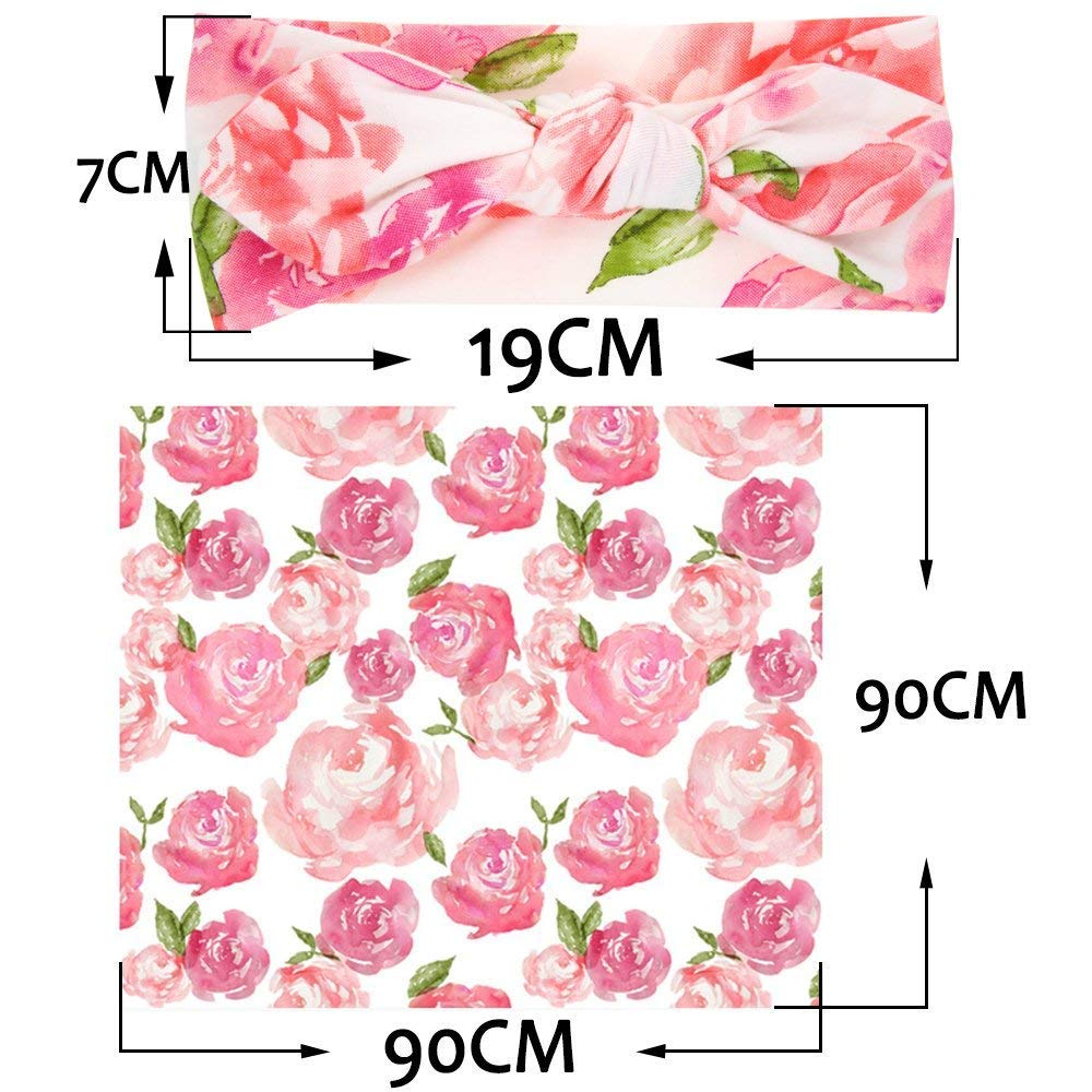 EP.Queen Baby Swaddle Blanket Wraps with Headband Newborn Receiving Blankets Pink Flower