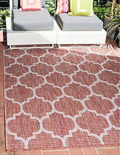Unique Loom Outdoor Trellis Collection Casual Moroccan Lattice Transitional Indoor and Outdoor Flatweave Rust Red   Area Rug (9' 0 x 12' 0)