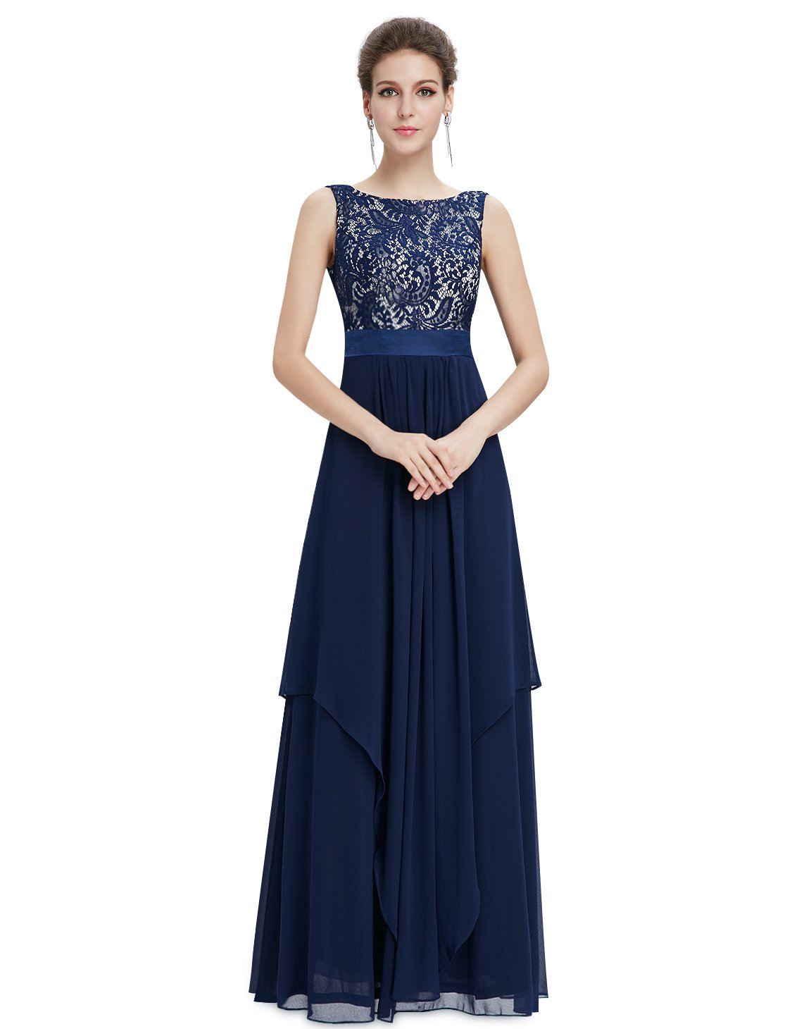 Ever-Pretty Womens Lace Bodice Fitted Waist A Line Military Ball Dress 14 US Navy Blue