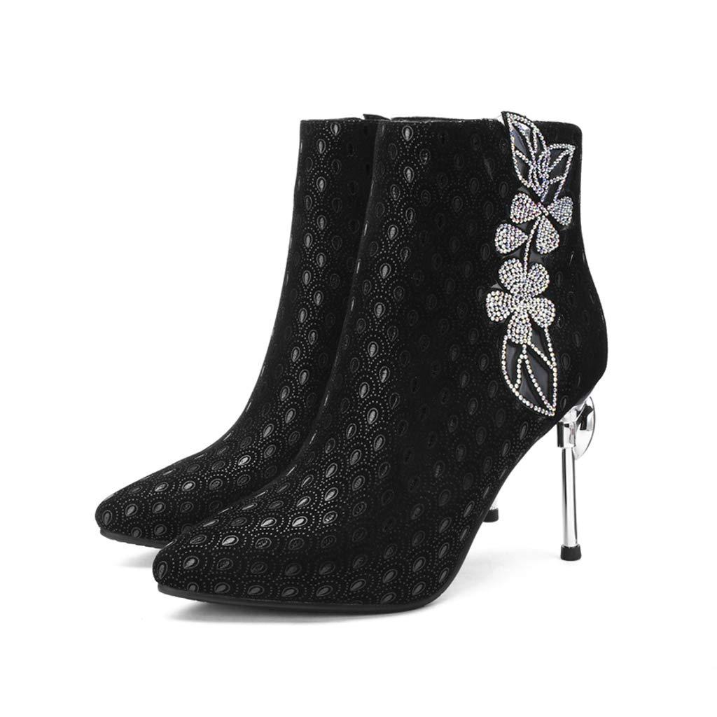 Botines de tacón Alto de Cuero Botas Botas Botas de Color Acentuado a Juego Botas Bajas Atractivas Botas de Mujer Otoño e Invierno Zapatos de Mujer Botas Individuales Botas Zapatos de Boda 49c999