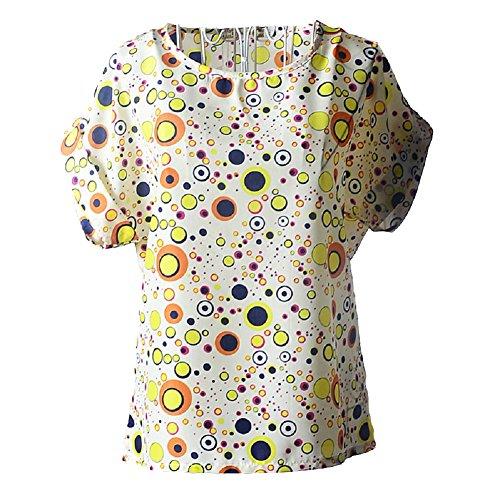 Moollyfox Mujeres de la Manga Corta del Verano del Roll-Up O Cuello Impresos Gasa Floja Camisetas Tops Burbuja Amarilla