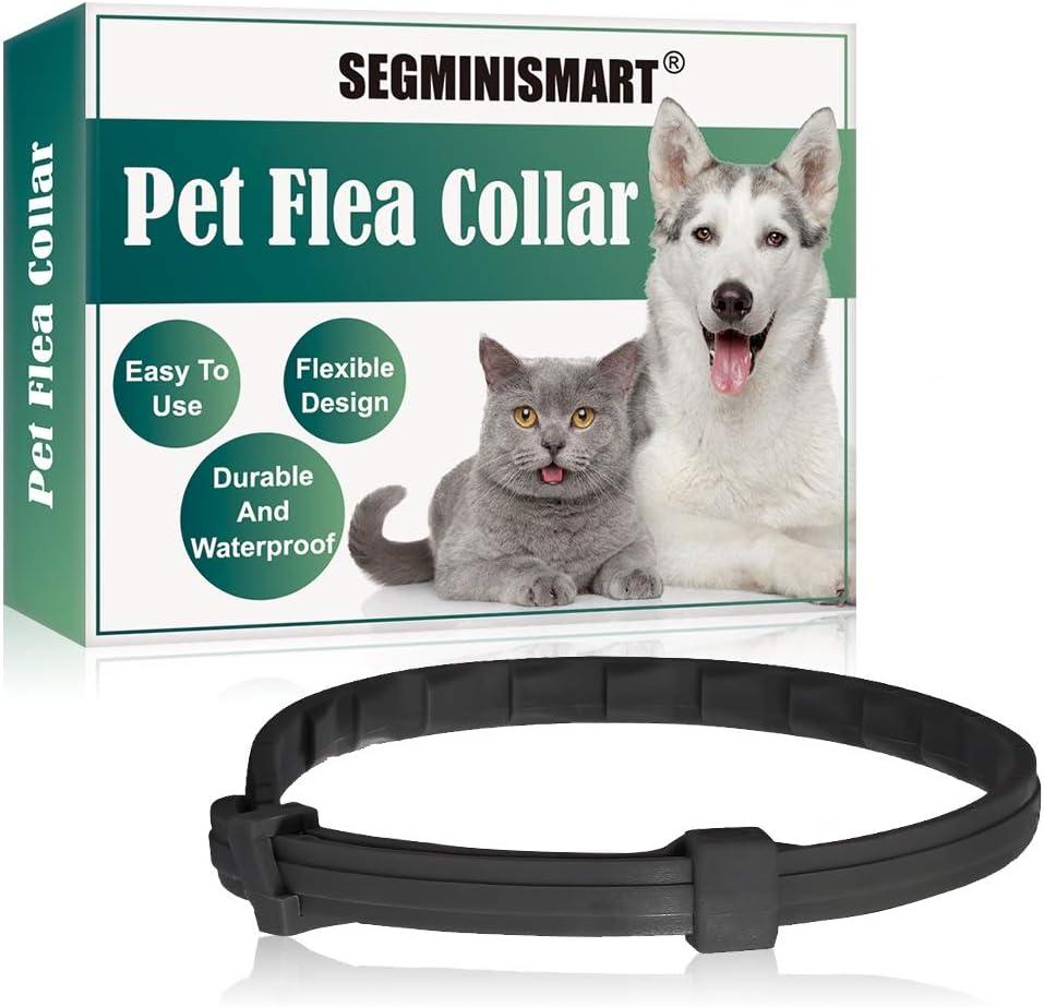 SEGMINISMART Collares Antiparasitario para Perros,Prevención de Pulgas y Garrapatas,contra Pulgas Garrapatas y Mosquitos, Ajustable a Prueba de Agua