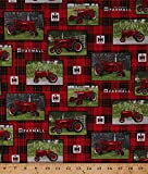 Cotton McCormick Farmall Tractors Logo Farming Farm Country Fences Farmer on Plaid Red Black Cotton Fabric Print by the Yard (10175)