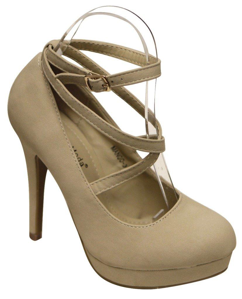Top Moda Mango-3 women's High Heel Platform ballet crossing ankle strap pumps Beige 8