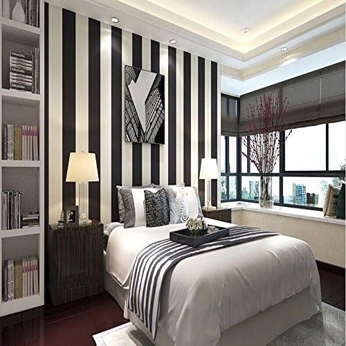 KeTianモダンミニストライプの寝室のリビングルームのための縦縞のPVC壁紙白黒の色0.53m(1.73 'W)×10m(32.8'L)= 5.3m2(57平方フィート)