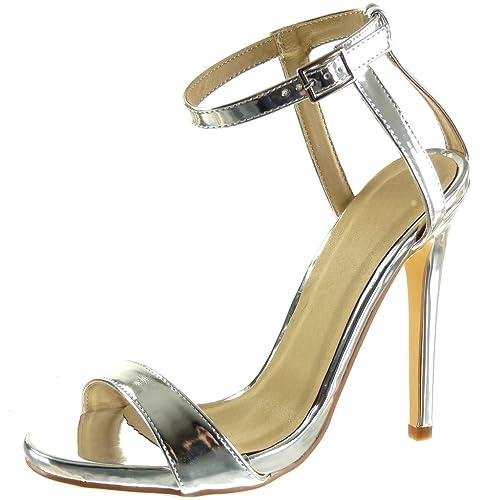 6c9ebae672f59 Angkorly - Chaussure Mode Sandale Escarpin Stiletto Sexy Chic Femme lanière  Brillant Talon Haut Aiguille 12.5 CM - Argent - JM-77 T 40  Amazon.fr  ...