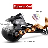 Automatic Hair Steam Curler ARINO Ceramic Hair Curler Professional Curling Iron Wand for Beautiful Style & Shine, LCD Digital Display Black