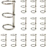 Luckycivia 12 Pcs Silver Book Rings, 3 Holes Metal Loose Leaf Binder Rings, Ring Snap Split Hinged for Notebook Diary Photo A