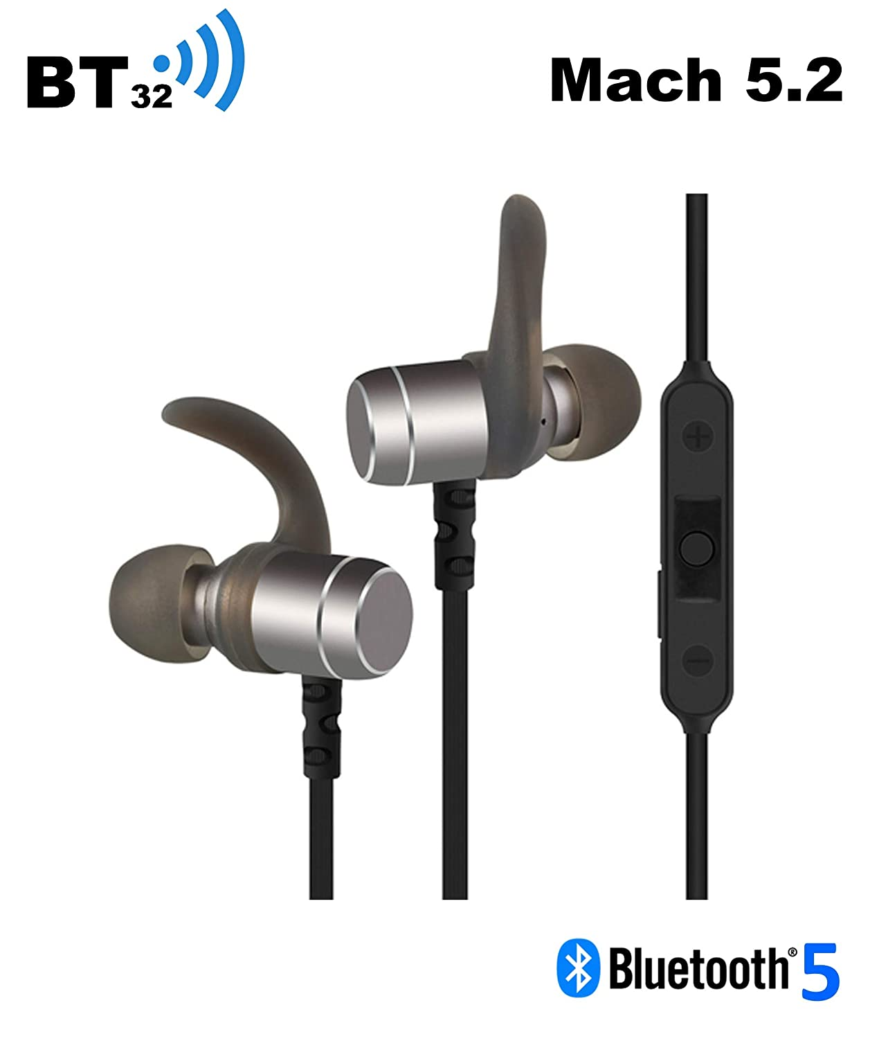 BT32 Mach 5.2 Bluetooth 5.0 Magnetic Wireless Earbuds, Sport in-Ear, Sweatproof with Built-in Charger and Mic, Super Sound Quality, 11 Hrs Playtime, Comfortable, Black