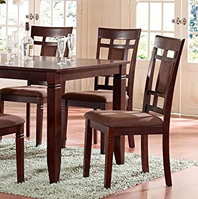 Roundhill Furniture 7 Piece Inworld Dining Set, Dark Cherry