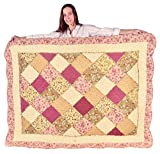 Squish Antique Patchwork Quilted Oversize Throw 55x70-Inch