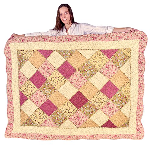 Handcrafted Quilted Throw (Squish Antique Patchwork Quilted Oversize Throw 55x70-Inch)