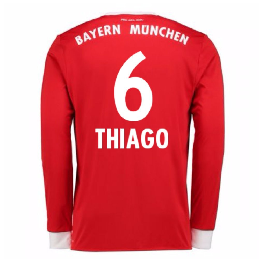 2017-18 Bayern Munich Home Long Sleeve Football Soccer T-Shirt Trikot (Thiago 6)