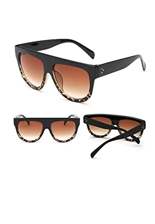 6d25f85f654 Black Flat Top Shadow Sunglasses Women s Tortoise Shield Luxury Oversized   Amazon.co.uk  Clothing