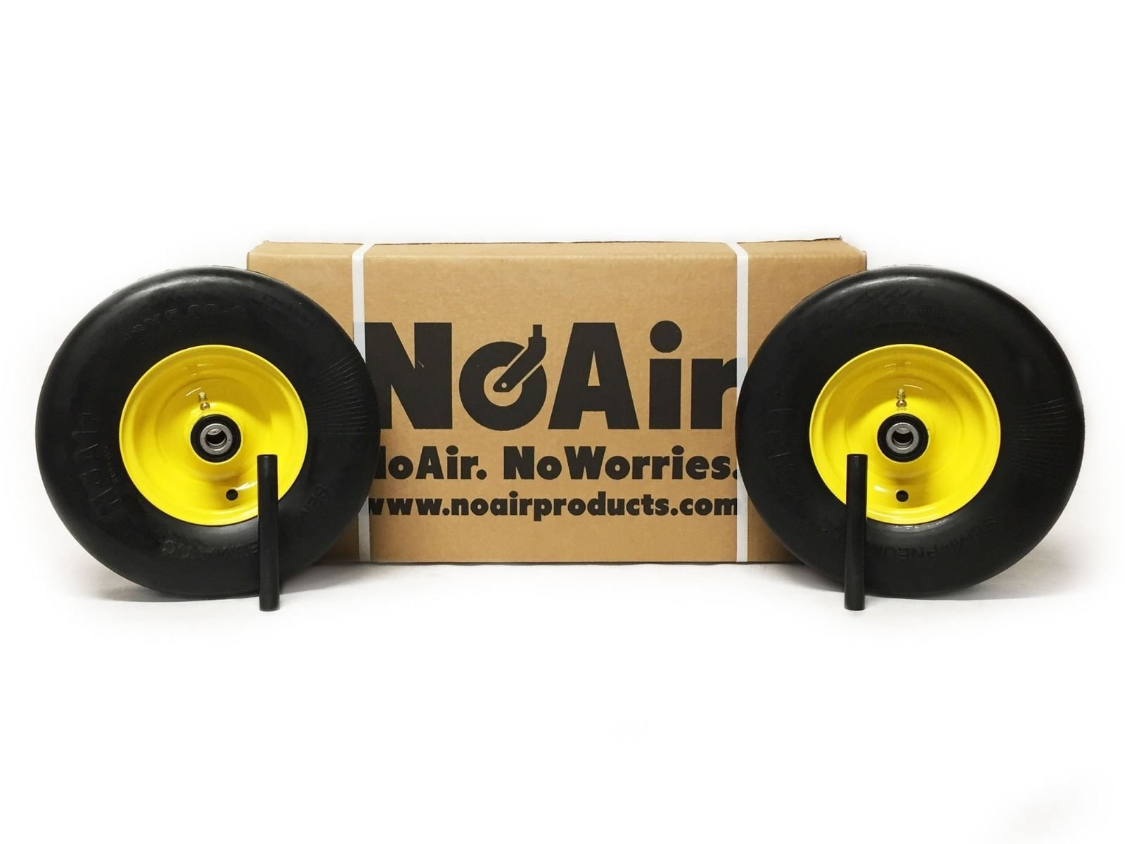 NoAir (2) John Deere Flat Free Wheel Assemblies 13x5.00-6 Yellow Replaces TCA 13769
