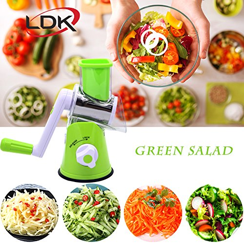 LDK Manual Hand Speedy Mandoline Slicer - Vegetable Cheese Cutter - Food Chopper - Vertical Rotating Drum Veggie Pasta Salad Maker With 3 Cylinders Stainless Steel Drums (Green)