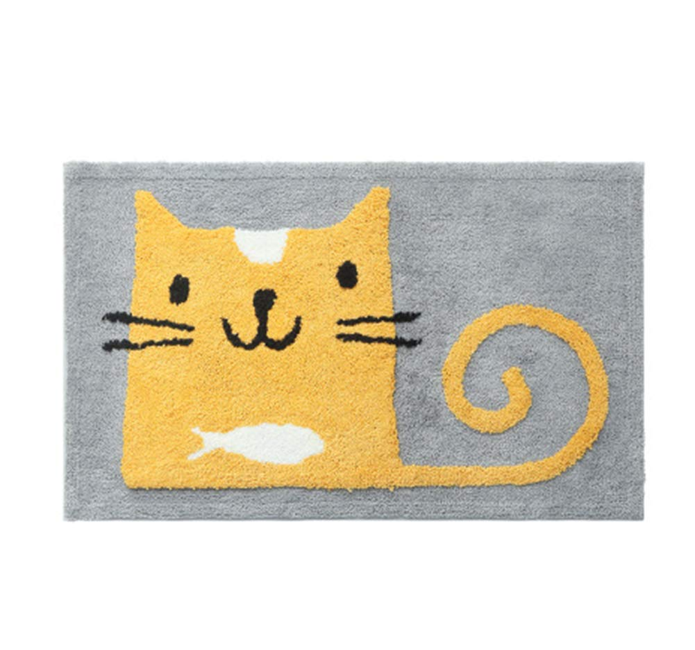 "JINGXIN Cartoon Flocking Home Area Rugs Antislip Water Absorbent Bathroom Doormat,19.69""(W) x 31.50""(L),Cat"