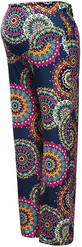 Gray,S Sagton Maternity Pants Plus Size Long Floral Print Pants Wide Leg Pants
