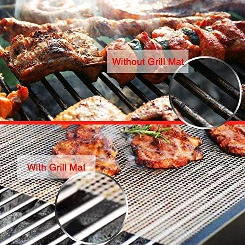 Kamena Lot de 7 filets de barbecue anti-adhésifs réutilisables en téflon 40 x 33 cm