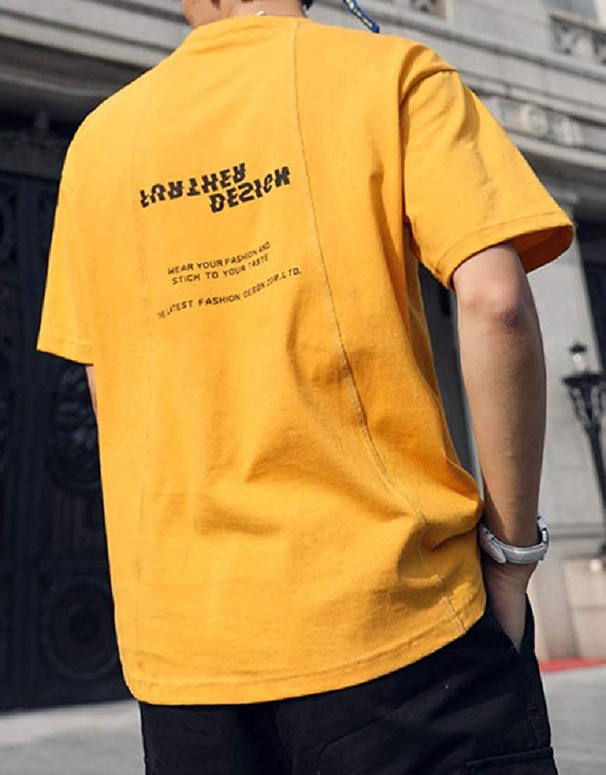 Joe Wenko Mens Printing Short Sleeve Tops Round Neck Splice Activewear Tee Shirts