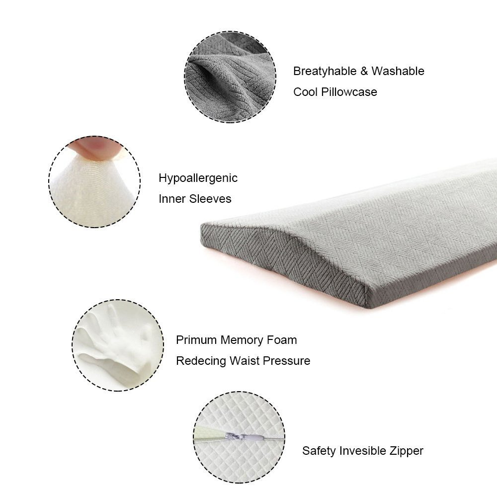 Qutool Memory Foam Sleeping Pillow for Lower Back Pain Multifunctional Lumbar Support Cushion for Hip Sciatica Pregnancy and Joint Pain Relief Orthopedic Wedge Side Sleeper Bed Pillow