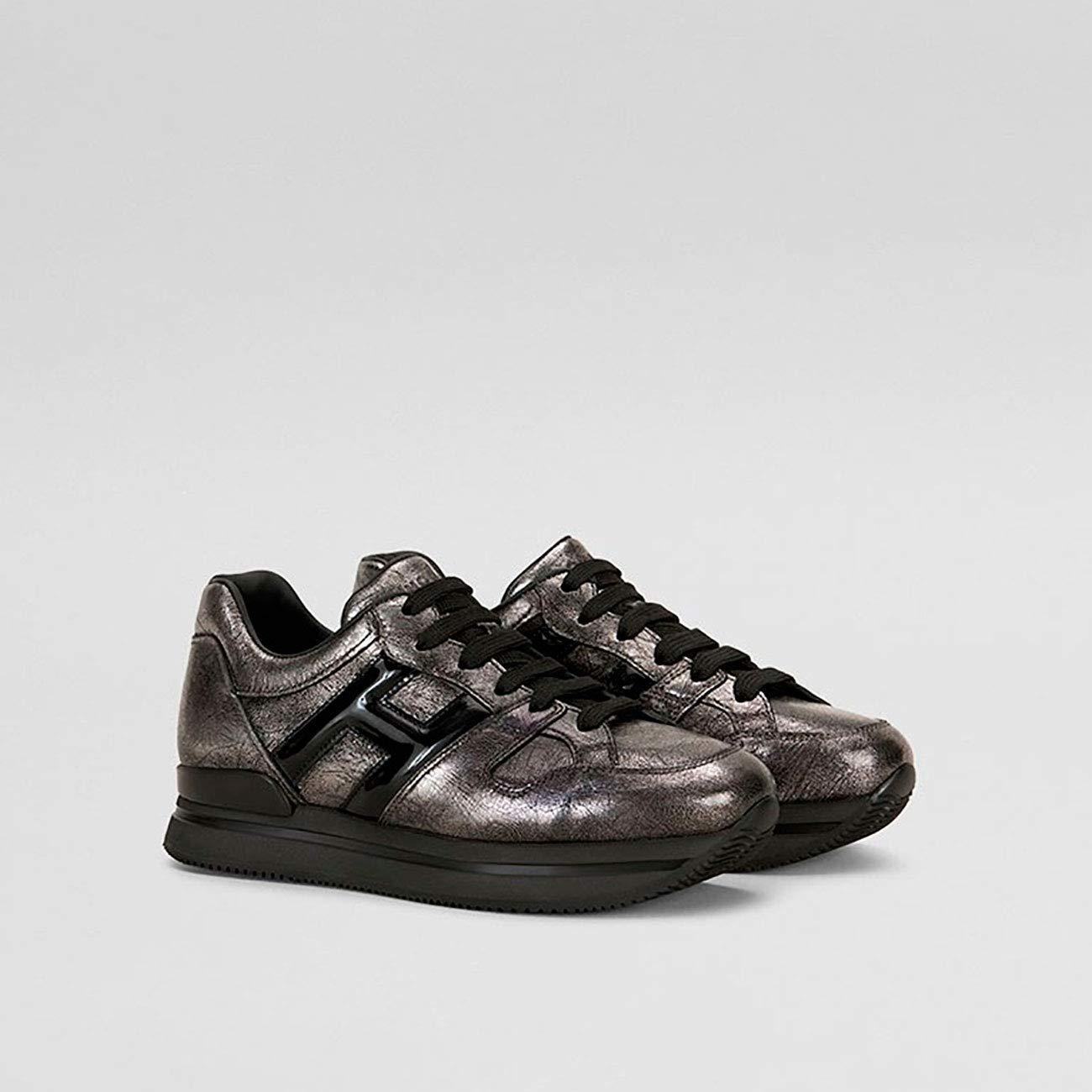 Hogan Turnschuhe H222 IN METALLIC Leather schwarz schwarz schwarz grau, Damen. 9bee1f