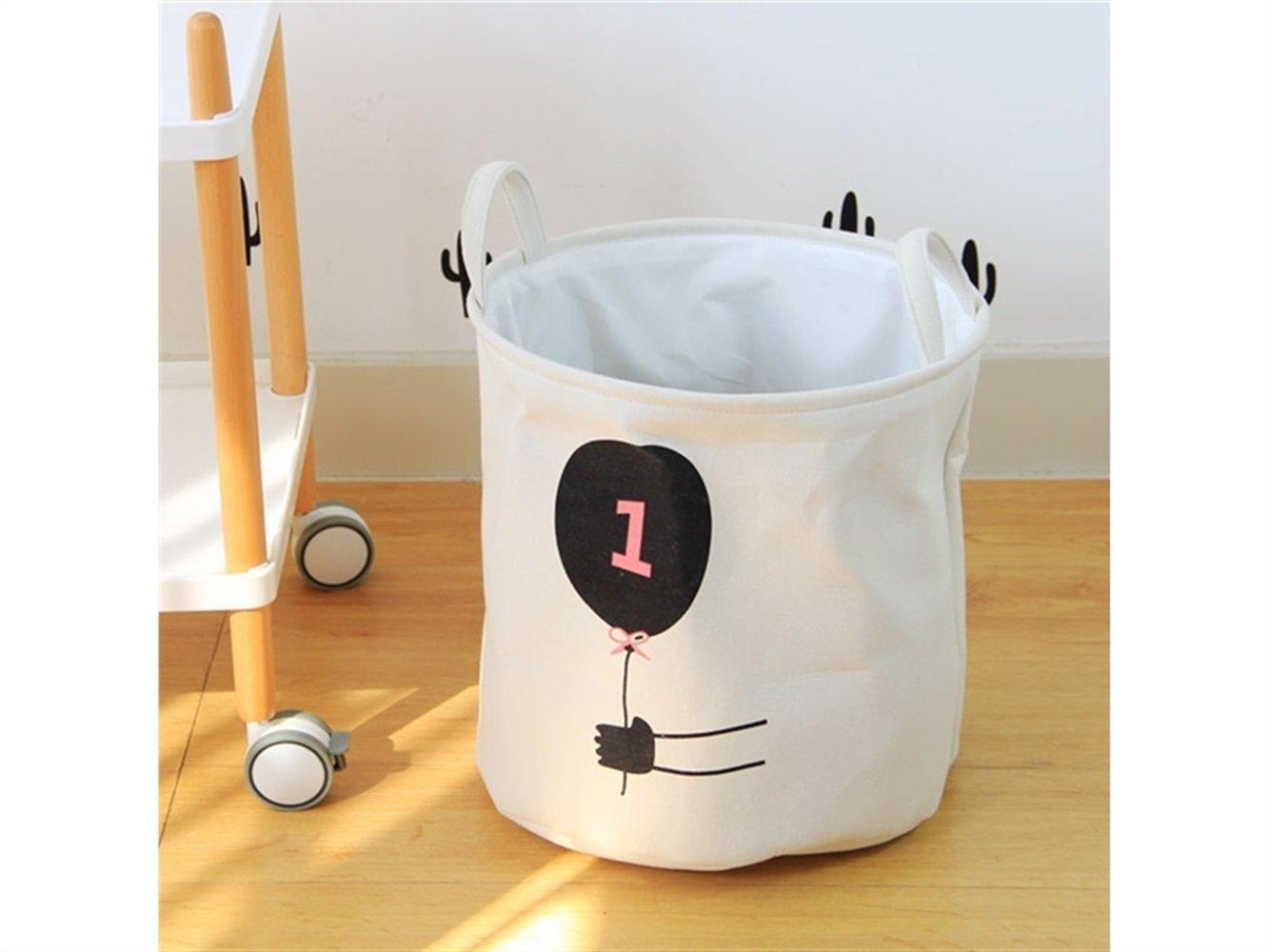 Gelaiken Lightweight Balloon Pattern Storage Bag Cotton Bucket Sundries Storage Bucket(White)