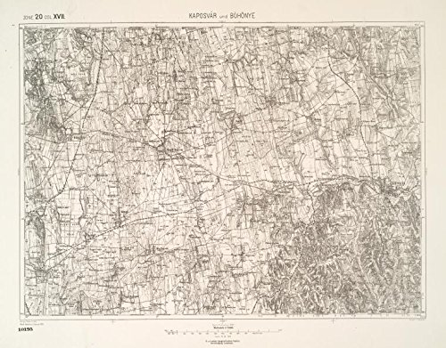 Historic 1906 Map   Kaposvar und Bohonye.   MapsAntique Vintage Map Reproduction