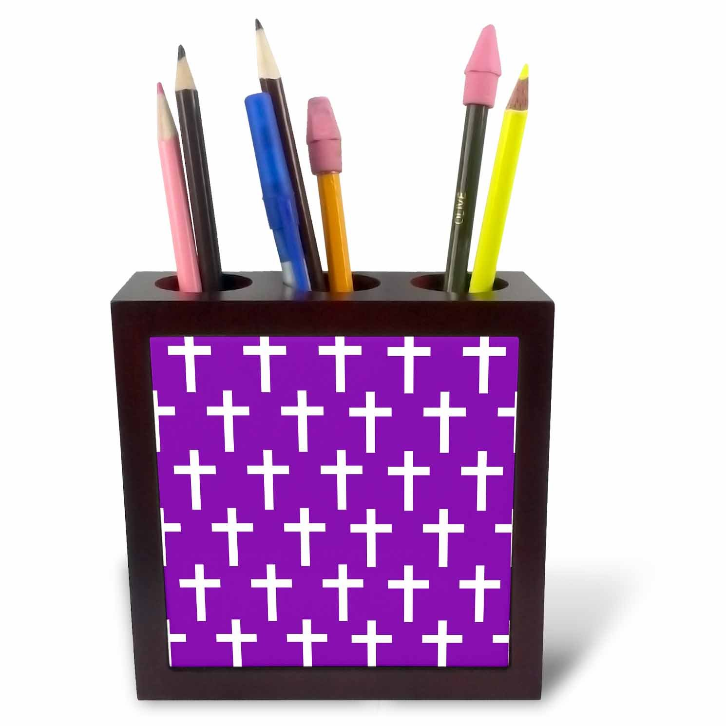 3dRose ph_185499_1 Purple Christian Cross Pattern with White Religious Crucifix Crosses Tile Pen Holder, 5'' by 3dRose