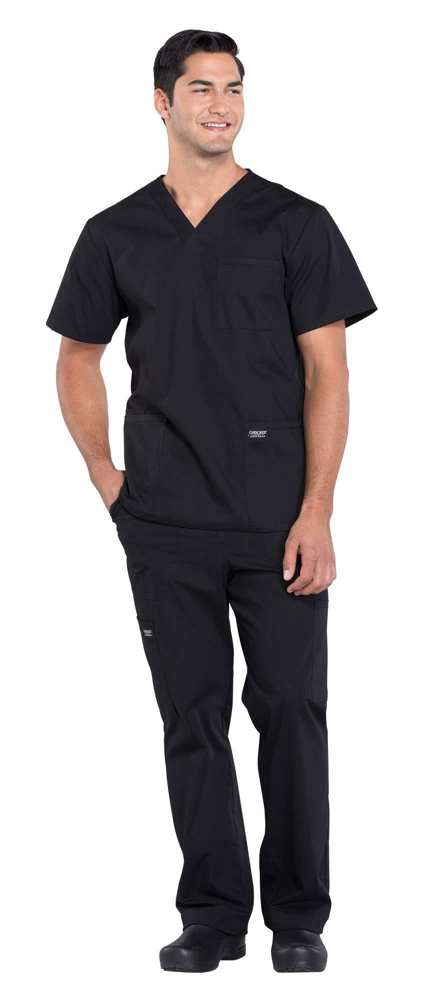 Cherokee Workwear Professionals Men's 4 Pocket V-Neck Scrub Top WW695 & Men's Drawstring Cargo Scrub Pants WW190 Medical Uniforms Scrub Set (Black - Large)