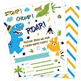 WERNNSAI Dinosaur Birthday Invitations - 20 Pieces Fill-in Invitation Cards with 20 Pieces Envelopes Dinosaur Party…