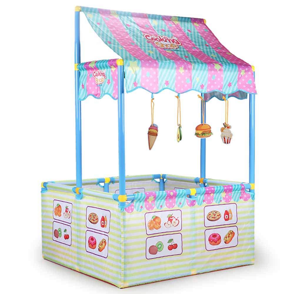 子供の遊びのテントプラスチック/木製の演劇の家の赤ん坊の赤ん坊のゲーム安全柵、食堂のテーマデザイン、0-6歳の子供に適した B07TN4DRNV blue 126*78cm