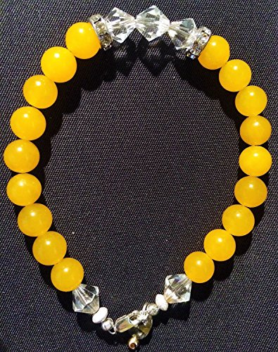 Yellow Jade 8.0mm Gemstone with Preciosa BiCone Crystal 8.0mm 925 SS (925 Sterling Silver) Bead Bracelet