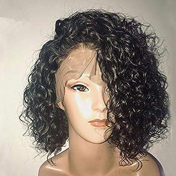 wig Pelucas del Pelo Humano del Frente del Cordón Rizado Corto De La Densidad del 150