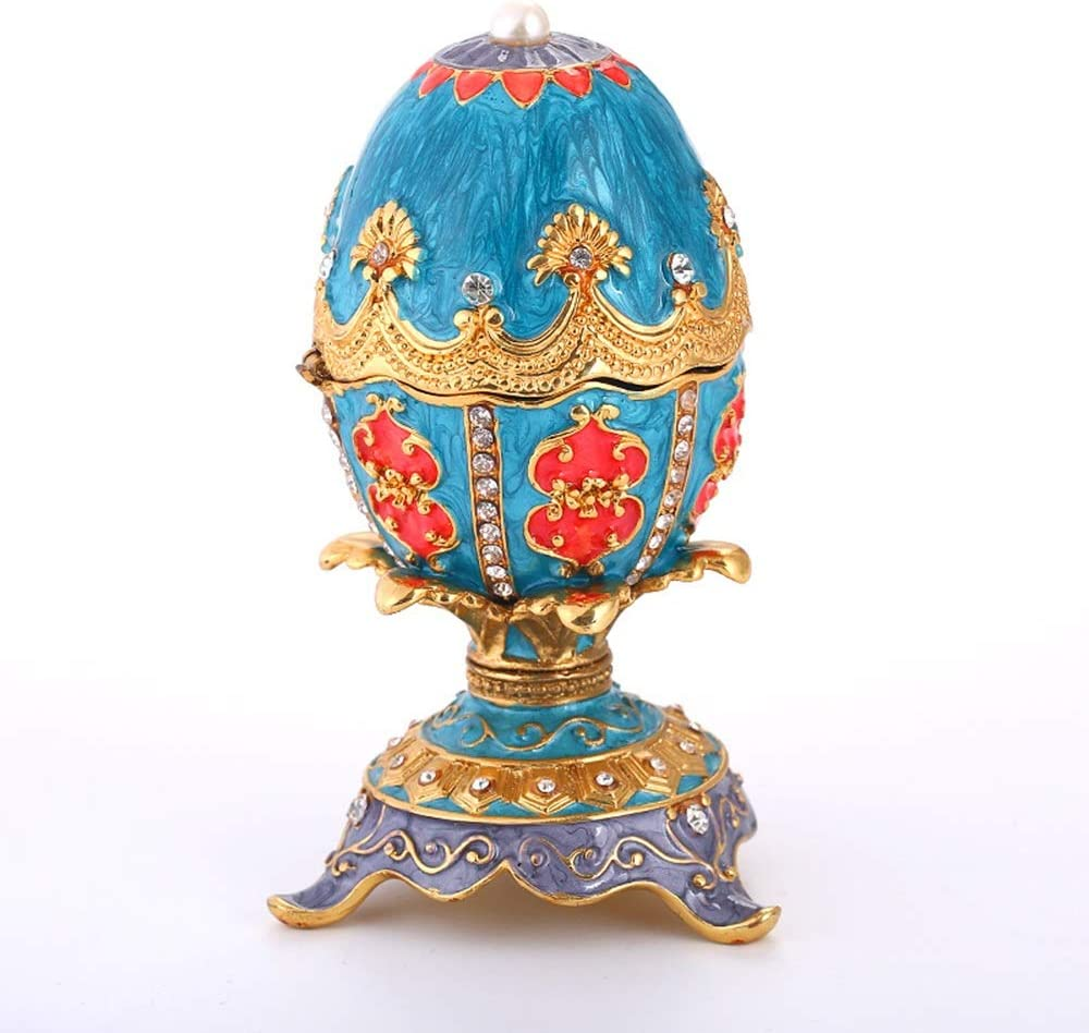 Chenteshangmao Easter Egg Jewelry Box Rhinestone Home Living Room Office Creative Decoration, Painted Metal Craft Gift Three-Dimensional Sense Exquisite