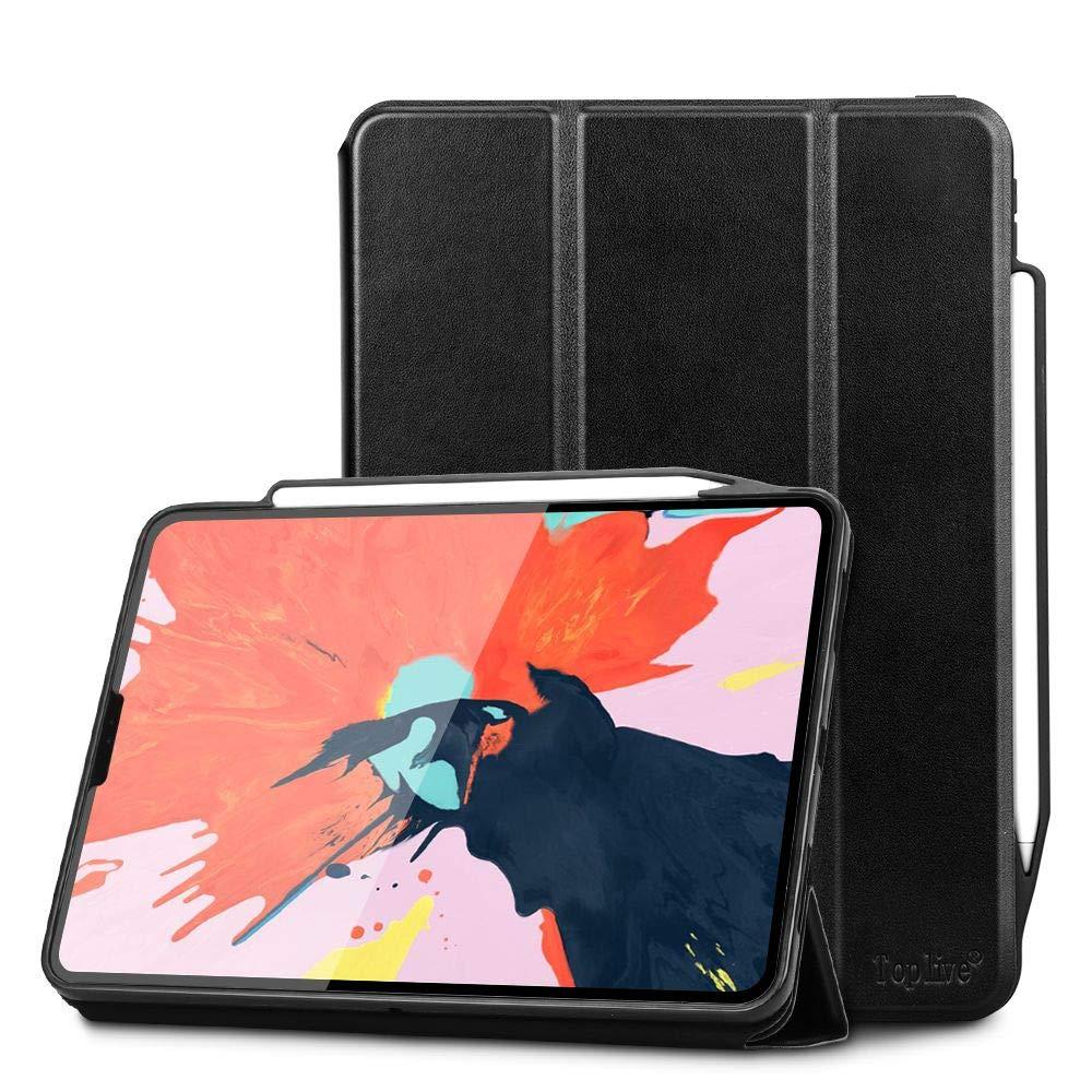 Toplive 高級牛革 本革 iPad Pro 11ケース (2018) [Apple Pencil Charging対応] スマートスタンドフォリオケースカバー Apple iPad Pro 11インチ 2018用 自動スリープ解除機能付き ブラック Toplive-2005-iPad-Pro11-2018-US-BK  ブラック B07LG989V5