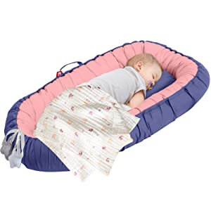 Baby Lounger Portable Baby Bed Cosleeper Bassinet Infant Sleeper Baby Crib Nursery Travel Folding Baby Bed Bag for 0-12 Month Baby Bedroom Indoor Outdoor (Indigo Blue + Pink)